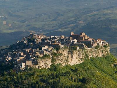 Morning View of Hill Town, Calascibetta, Enna, Sicily, Italy-Walter Bibikow-Photographic Print