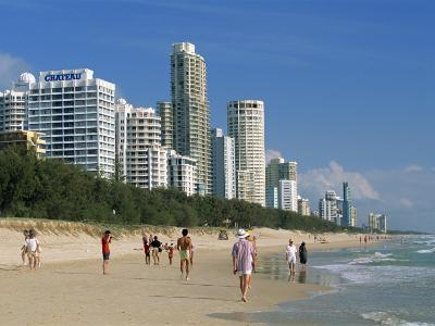 Morning Walkers on the Beach, Surfers Paradise on the Gold Coast of Queensland, Australia-Robert Francis-Photographic Print