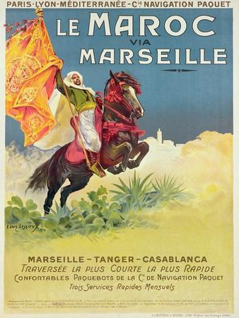 Morocco and Marseille Poster, 1913-Ernest Louis Lessieux-Giclee Print