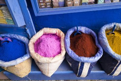 Morocco, Chaouen. Paint Pigments in Burlap Sacks-Emily Wilson-Photographic Print