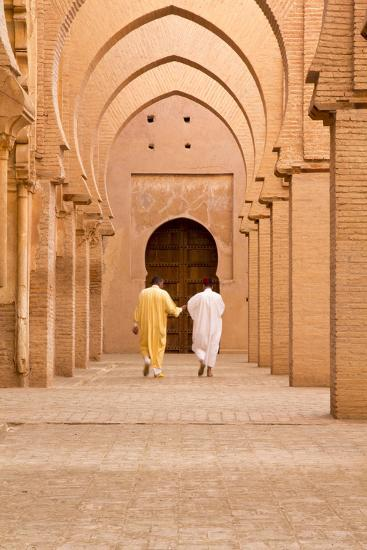 Morocco, Marrakech, Tinmal. Men Walking to the Great Mosque of Tinmal-Emily Wilson-Photographic Print