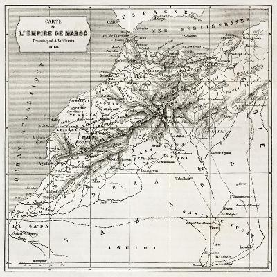 Morocco Old Map. Created By Erhard And Bonaparte, Published On Le Tour Du Monde, Paris, 1860-marzolino-Art Print