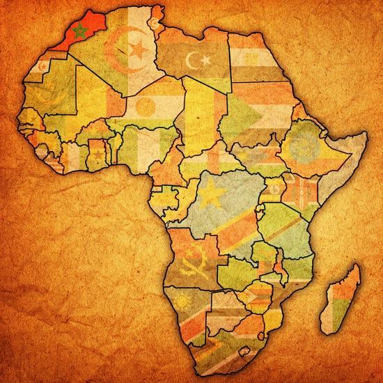 Morocco Map Of Africa.Morocco On Actual Map Of Africa Art Print By Michal812 Art Com