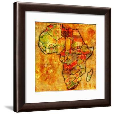 Morocco on Actual Map of Africa-michal812-Framed Premium Giclee Print