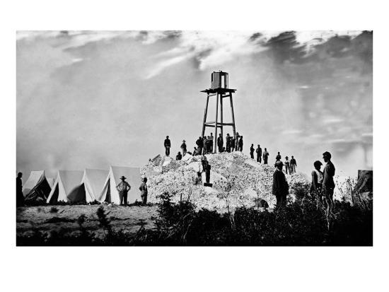 Morris Island, SC, Ruins of Charleston Lighthouse, Civil War-Lantern Press-Art Print