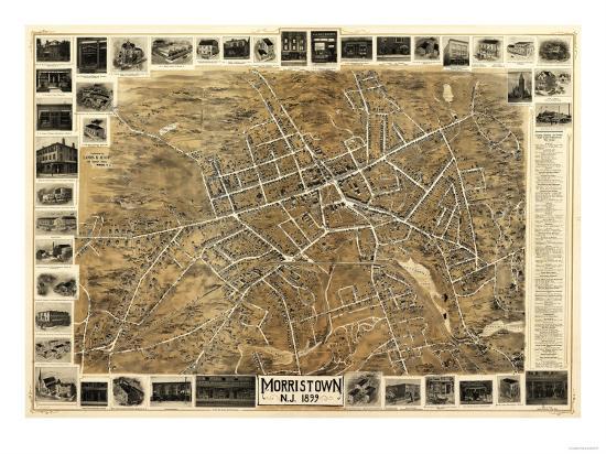 Morristown, New Jersey - Panoramic Map-Lantern Press-Art Print
