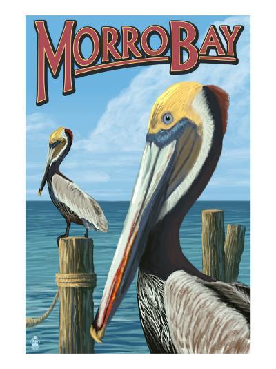 Morro Bay, CA - Pelicans-Lantern Press-Art Print
