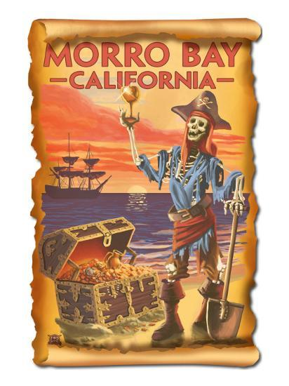 Morro Bay, CA - Pirate Plunder-Lantern Press-Art Print