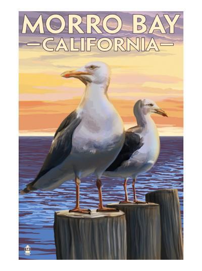 Morro Bay, CA - Sea Gulls-Lantern Press-Art Print