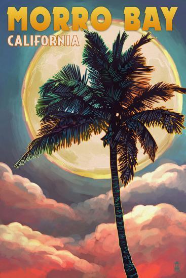 Morro Bay, California - Palm and Moon-Lantern Press-Wall Mural