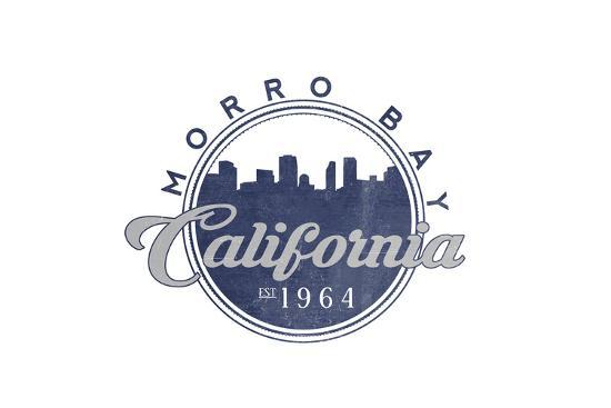 Morro Bay, California - Skyline Seal (Blue)-Lantern Press-Art Print