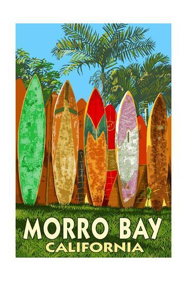 Morro Bay, California - Surfboard Fence-Lantern Press-Art Print