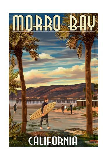 Morro Bay, California - Surfer and Pier-Lantern Press-Art Print