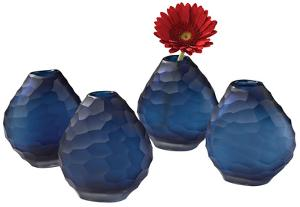 Morro Cut Pebble Vase Set - Sapphire