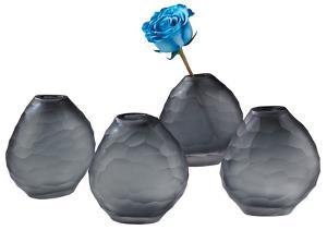 Morro Cut Pebble Vase Set - Smoke