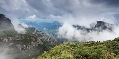 Morro Da Igreja Rocks in the Clouds and Mists Near Urubici in Santa Catarina, Brazil-Alex Saberi-Photographic Print