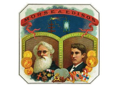 Morse and Edison Brand Cigar Box Label, Samuel F.B. Morse and Thomas Edison-Lantern Press-Art Print