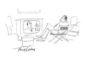 "A man siting in a chair with the words ""Opposing Viewpoint"" on the back, w? - New Yorker Cartoon by Mort Gerberg"