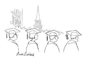 a pair of dice hang from a college graduate's mortarboard - New Yorker Cartoon by Mort Gerberg