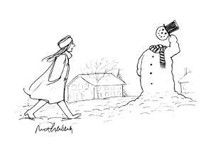 A woman walks by a snowman who tips his hat to her as she passes; his head? - New Yorker Cartoon by Mort Gerberg