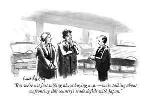 """""""But we're not just talking about buying a car?we're talking about confron? by Mort Gerberg"""