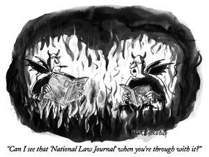 """Can I see that 'National Law Journal' when you're through with it?"" - New Yorker Cartoon by Mort Gerberg"