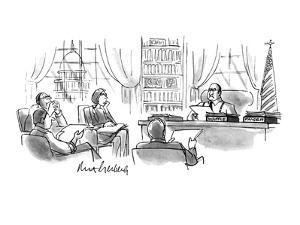 Executive's desk has two bins, 'Waffle' and 'Pander'. - New Yorker Cartoon by Mort Gerberg