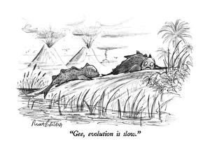"""Gee, evolution is slow."" - New Yorker Cartoon by Mort Gerberg"
