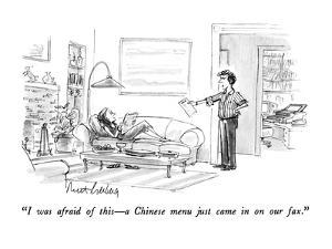 """I was afraid of this?a Chinese menu just came in on our fax."" - New Yorker Cartoon by Mort Gerberg"