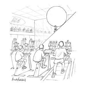In a gym, with a track, weight machines and stationary bikes, Sisyphus is ? - New Yorker Cartoon by Mort Gerberg