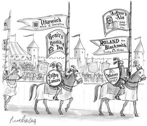 Knights on horseback getting ready to joust sport ads for various goods on… - New Yorker Cartoon by Mort Gerberg
