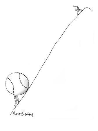 Man pushes giant baseball up hill toward batter who stands ready at top. - New Yorker Cartoon