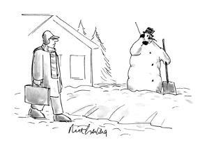 Man walks by a snowman who is holding a cellular phone up to his ear. - New Yorker Cartoon by Mort Gerberg