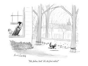 """""""Oh, Julius, look!  It's the first robin!"""" - New Yorker Cartoon by Mort Gerberg"""