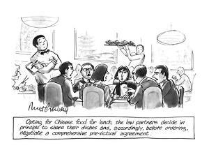 Opting for Chinese food for lunch, the law partners decide in principle to? - New Yorker Cartoon by Mort Gerberg