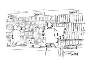 """People in a bookstore where the shelves are marked """"small,"""" """"medium"""" and """"? - New Yorker Cartoon by Mort Gerberg"""