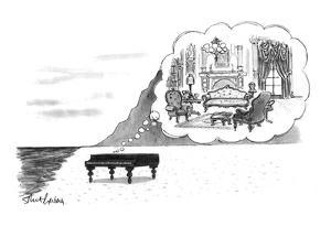 "Piano on beach has mental image of comfortable Victorian parlor. Refers to?"" - New Yorker Cartoon by Mort Gerberg"