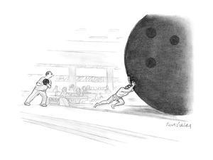 Sisyphus pushes a giant bowling ball. - New Yorker Cartoon by Mort Gerberg