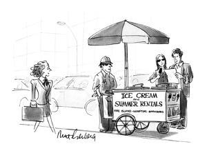 Street vendor's cart reads, 'Ice Cream and Summer Rentals Fire Island Hamt? - New Yorker Cartoon by Mort Gerberg