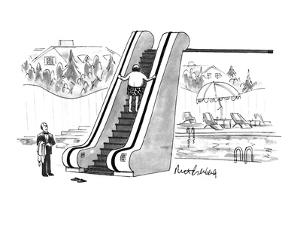 The rich man taking an escalator to his diving board. - New Yorker Cartoon by Mort Gerberg