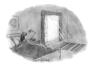 The woman looking at the UPC barcode pattern being thrown on the floor by ? - New Yorker Cartoon by Mort Gerberg