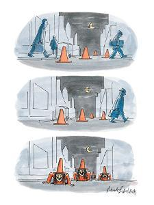 Three panel drawing of a street scene with traffic pylons that are actuall? - New Yorker Cartoon by Mort Gerberg