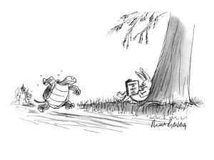 """Tortoise sees  the hare reading """"Rabbit at Rest"""". - New Yorker Cartoon by Mort Gerberg"""