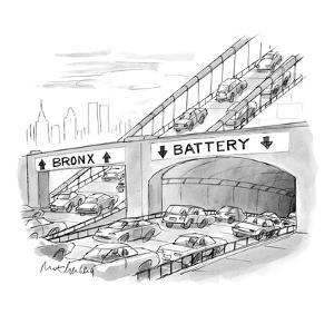 Two lanes of traffic under highway signs: Bronx with up-arrows to bridge o? - New Yorker Cartoon by Mort Gerberg