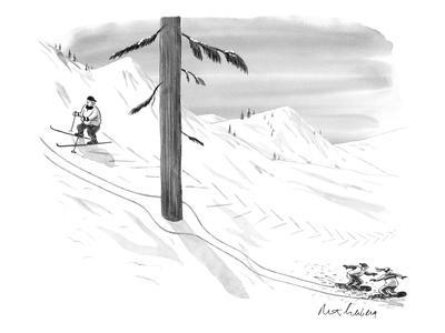 Two snowboarders ski around a tree as a skier looks on. - New Yorker Cartoon