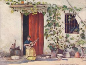 'A Courtyard, Seville', 1903 by Mortimer L Menpes