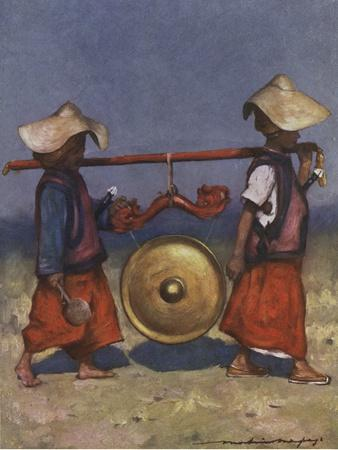 Shan servants carrying a brass gong - early 20th century