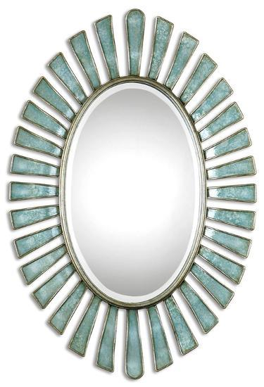 Morvoren Blue-Gray Oval Mirror--Wall Mirror