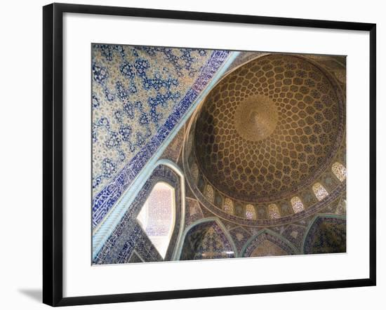 Mosaic Ceiling in Masjed-E Sheikh Lotfollah Mosque, Emam Khomeini Square, Esfahan, Iran-Holger Leue-Framed Photographic Print