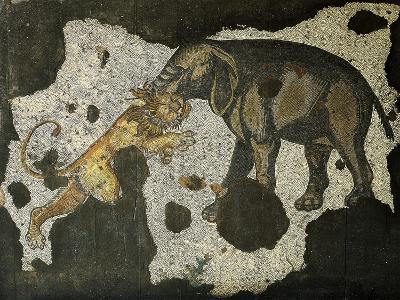 Mosaic Depicting an Elephant Killing a Beast--Giclee Print